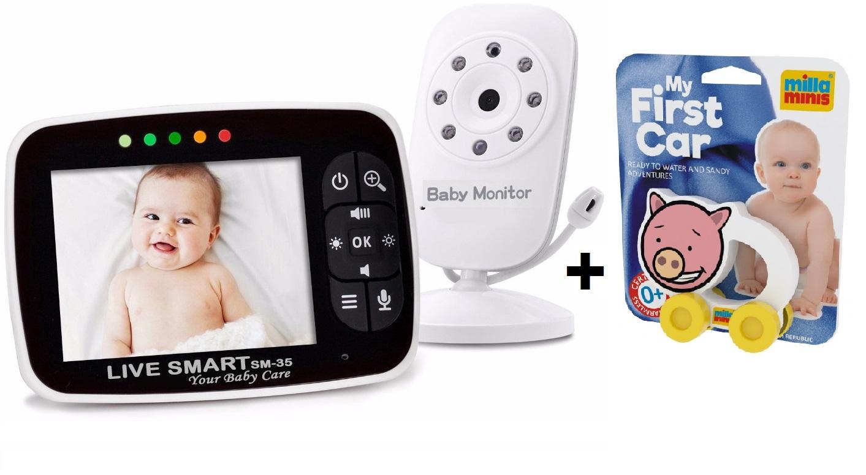 Pachet promo :Baby Monitor Video pentru bebelusi SI-LiveSmart SM35+ Masinuta interactiva, ecologica Porcusor 0