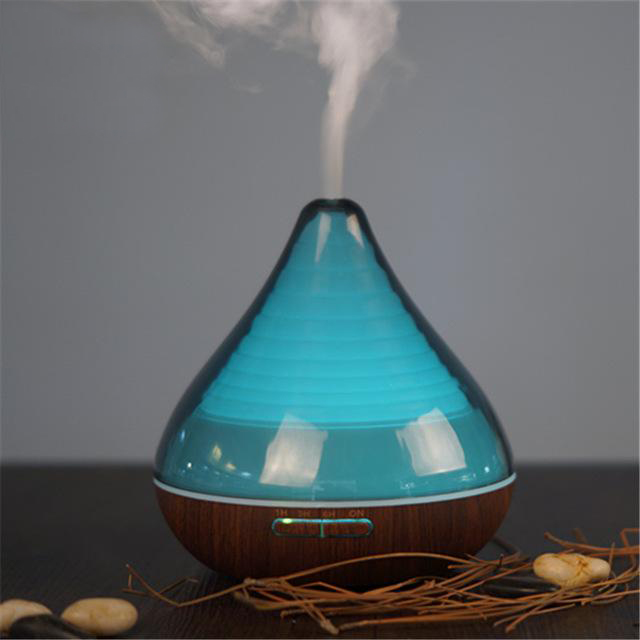 Difuzor aromaterapie, Zenix, GX-13K, 300ml, 16 ore, ultrasonic - Stejar inchis + Negru 1