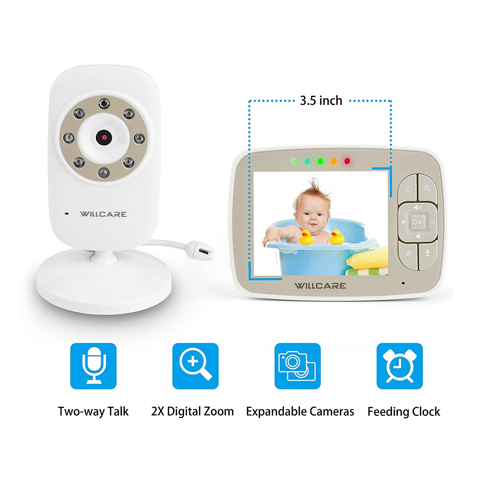 "Monitor Video pentru bebelusi SI-WIlLCARE, night vision, TFT 3,5"",alarma temperatura,300 m ,360⁰ + CADOU 2"