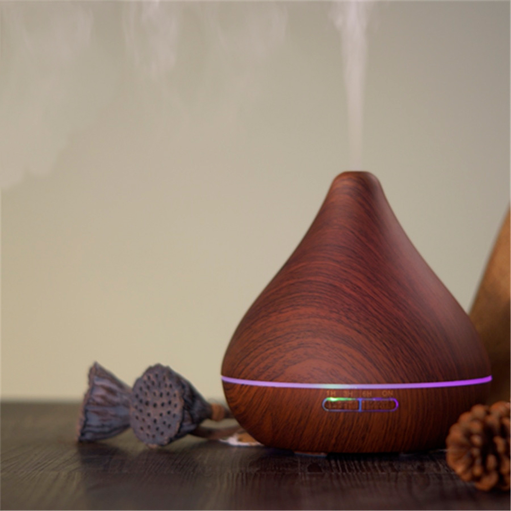 Difuzor aromaterapie, Zenix, GX-13K, 300ml, 16 ore, ultrasonic - Stejar inchis complet 1