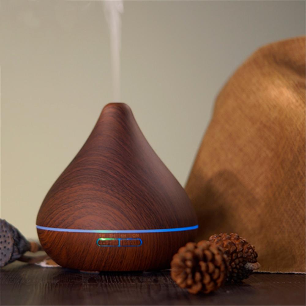 Difuzor aromaterapie, Zenix, GX-13K, 300ml, 16 ore, ultrasonic - Stejar inchis complet 2