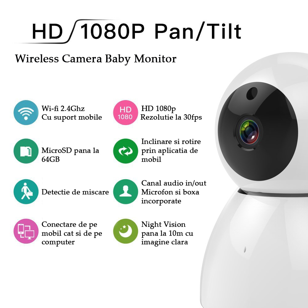 Camera Wireless Baby Monitor TI-JDL-GX1 Full HD 1080p, WI-FI 2,4 Ghz, Aplicatie Mobile, NIghtVision, White 2