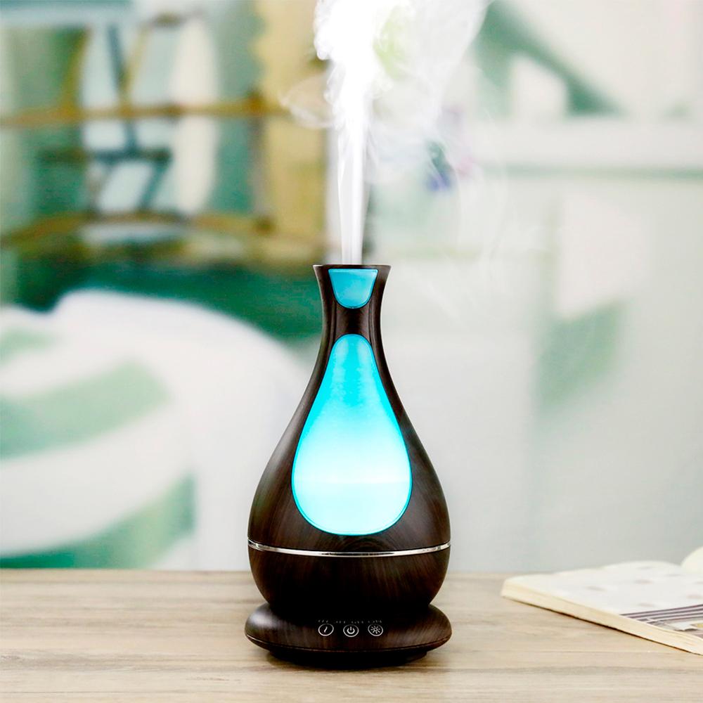 Difuzor aromaterapie, Zenix, Poseidon, 400ml, 18 ore, ultrasonic - Stejar inchis 0