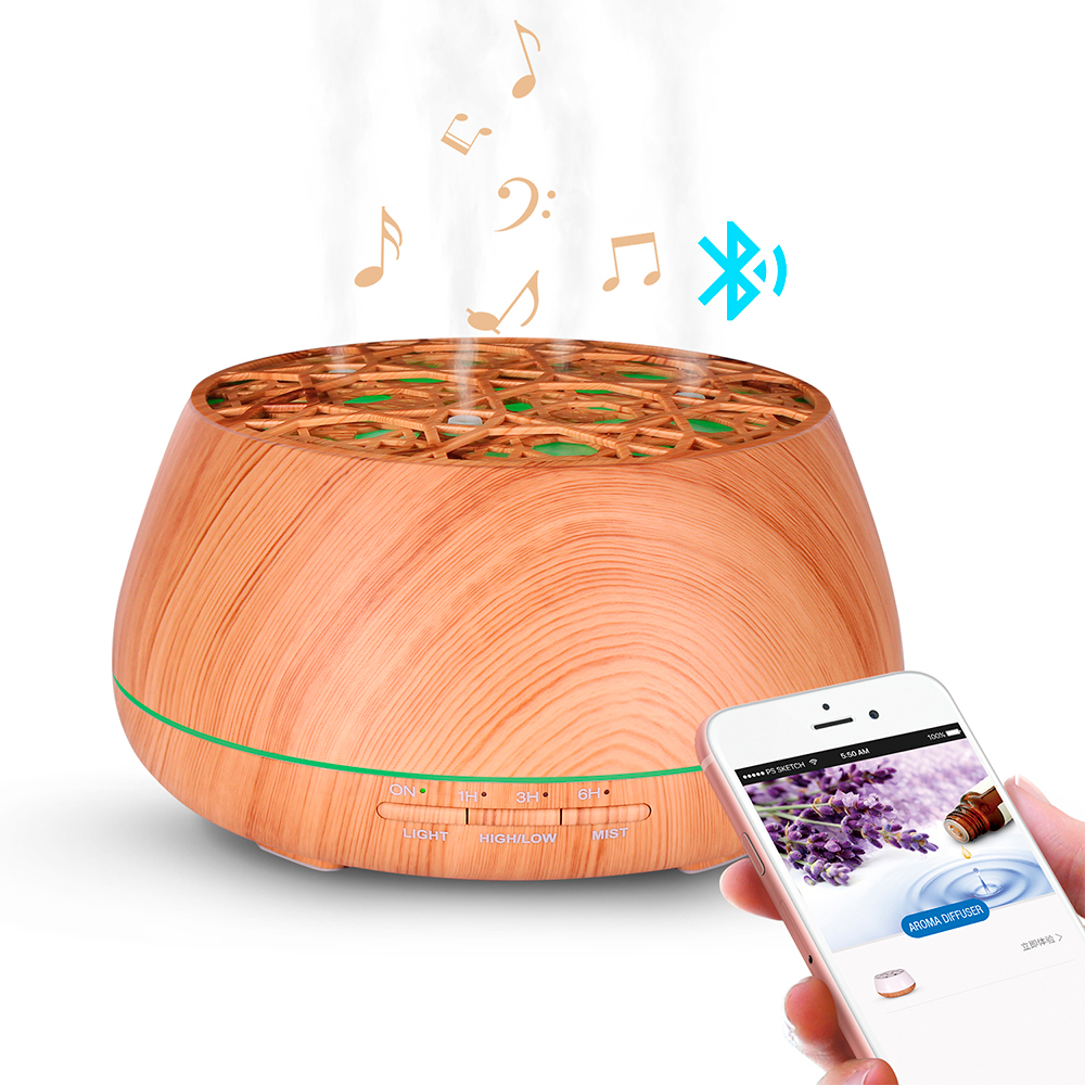Difuzor aromaterapie, Zenix, Orfeu, 400ml, 18 ore, ultrasonic - Stejar deschis