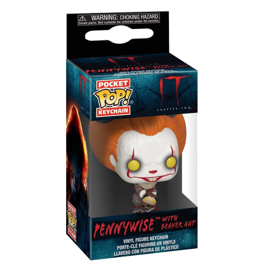 Breloc Funko Pocket POP! IT Chapter 2 - Pennywise with Beaver Hat Vinyl Figure 0
