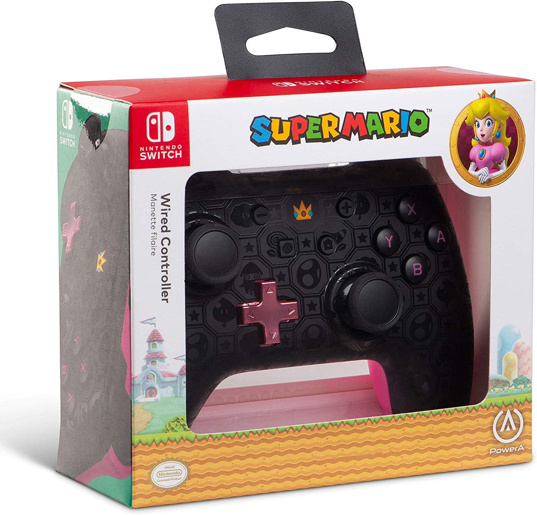 Controller cu Fir Shadow Peach Negru cu Roz pentru Nintendo Switch 4