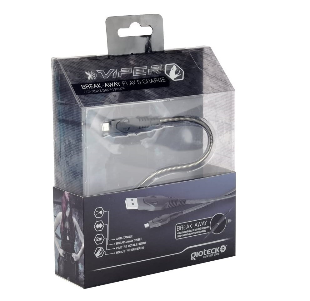 Adaptor Gioteck TX-Viper Anti-Twist Play and Charge Break Away Cable pentru Xbox One and PS4 0