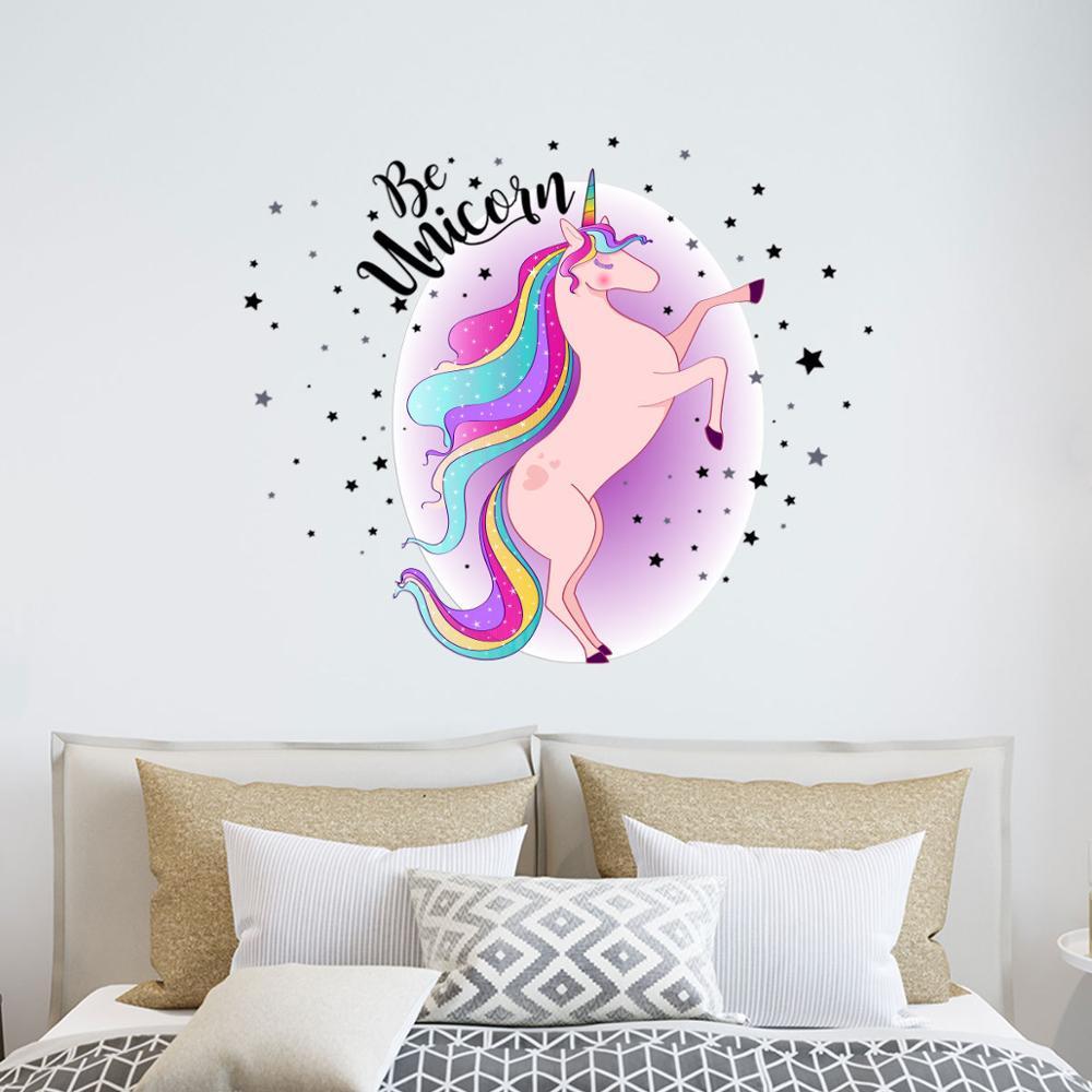 sticker autocolant unicorn curcubeu copii fete baieti